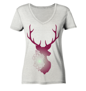 Shirt Damen Jägerin floral - Cream Heather Grey - Ladies Organic V-Neck Shirt