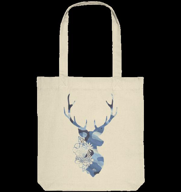 Tasche Beutel Hirsch floral blau Jägerin