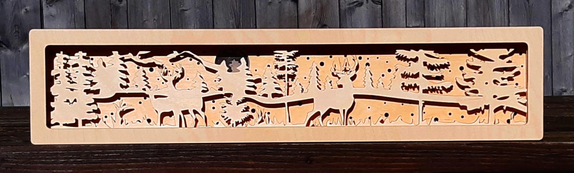 3D Dekoleuchte Hirsche im Wald Vollmond Fensterbank Schwibbogen Untersetzer Erhöhung Rotwild mister-clever (1)