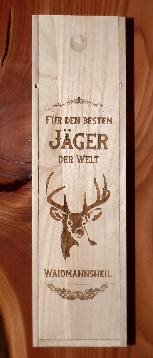 Geschenk Jäger Weinkiste aus Holz Verpackung mister-clever